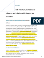 Attitude Content Structure and Function, How Attitude Influence Behaviour, Attitude Component Models