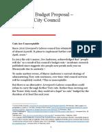 No Cuts Budget Proposal Liverpool City Council March-April 2019