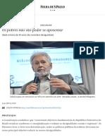 Desigualdade - Oded Grajew - Os Pobres Não Vão Poder Se Aposentar - 02-01-2019 - Opinião - Folha