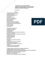 Indice Certificado de Profesionalidad Operaciones Auxiliares de Almacenaje