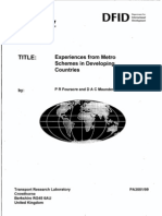 Experience of Metro in Developing Countries
