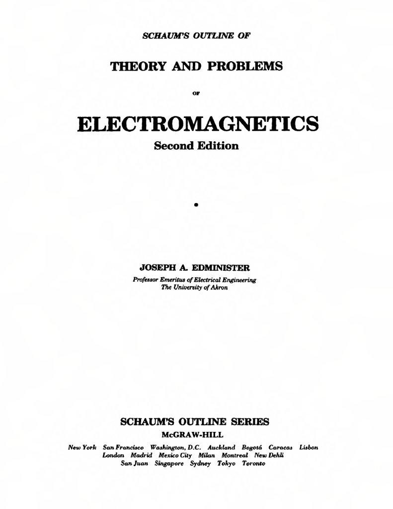 Schaum S Outline Of Electromagnetics 2ed