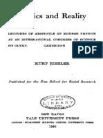 Kurt Riezler - Physics and Reality-Yale University Press (1940)