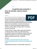 Aquecimento Global Pode Aumentar o Risco de Suicídio, Aponta Estudo - Galileu