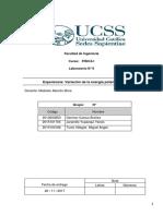 Laboratorio Física 2 informe 6 Variación de la energía potencial