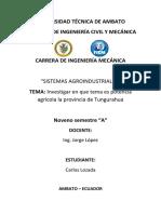 Potencia Agricola en La Provincia de Tungurahua