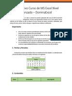 Informativo Curso de MS Excel Nivel Avanzado
