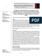 PRELIMINARY PHYTOCHEMICAL SCREENING OF CRUDE METHANOLIC EXTRACT OF SOME ETHNOMEDICINAL PLANTS USED BY MUTHUVAN TRIBE FROM KULACHUVAYAL TRIBAL COLONY, KANTHALLOOR, IDUKKI DISTRICT OF KERALA, INDIA