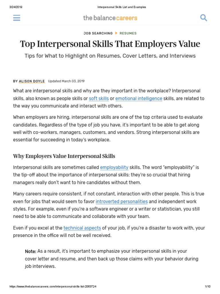 Interpersonal Skills List And Examples Resume Social Skills