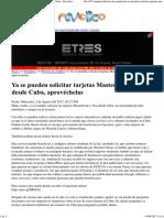Ya Se Pueden Solicitar Tarjetas MasterCard y Visa Cuba - Revolico
