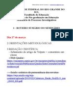 Roteiro e Sumario Do Seminário de metodologia UFRGS 2019