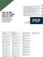 AVIC-Z910DAB Installation Manual Nl en Fr de It Es