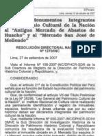 Resolucion que declara Mercado de Huacho como Patrimonio