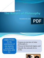 (B) an Introduction to the Nature of Philosophy