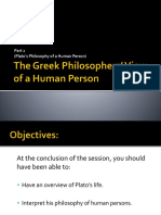(E) Greek Philosophers View of the Human Person (Plato)