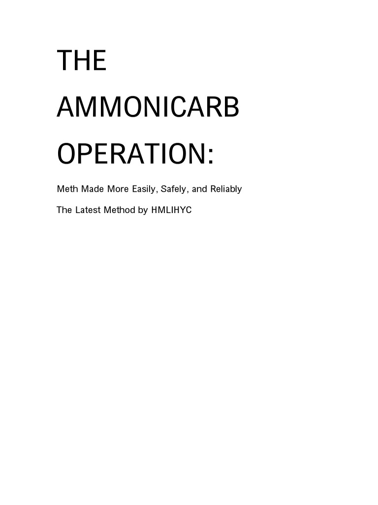 The AmmoniCarb Operation Book Format | Ammonia | Methamphetamine