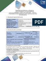 Guía de Actividades y Rúbrica de Evaluación - Tarea 2 - Cálculo de Propiedades de Las Sustancias Puras y La Primera Ley de La Termodinámica