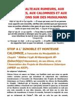 Apbif Halte Aux Rumeurs Aux Mensonges Aux Calomnies Et Aux Diffamations Sur Des Musulmans