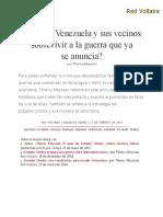 _¿Pueden Venezuela y Sus Vecinos _sobrevivir a La Guerra Que Ya Se Anuncia__, Por Thierry Meyssan