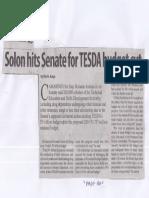 Manila Standard, Apr. 8, 2019, Solon hits Senate for TESDA budget cut.pdf