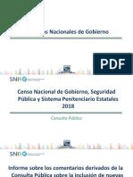 Censo Nacional de Gobierno, Seguridad Pública y Sistema Penitenciario Estatales 2018