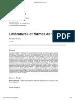 F. Coste, Littératures Et Formes de Vie