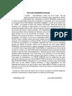 Acta de Ocurrencia Policial Caso de Las Supuests Medidas Preventivs