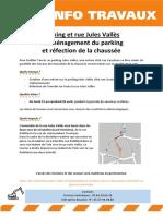 Parking et rue Jules Vallès - Réaménagement du parking et réfection de la chaussée