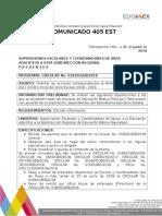 COMUNICADO 405 EST. Circular Fin e Inicicio de c e PAM