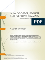 letter of order, request, and executive summary