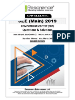 JEE Main 2019 Physics April Attempt Shift - 2(08th April, 2019)