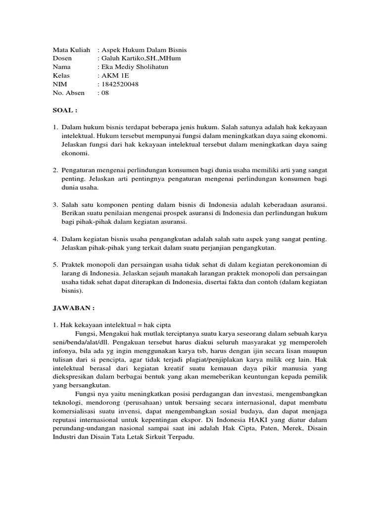 Soal Uts Aspek Hukum Dalam Bisnis Docx