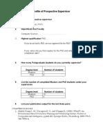 Profile of Prospective Supervisor Form