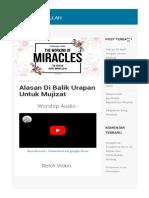 Alasan Di Balik Urapan Untuk Mujizat