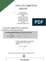 Funciones con logaritmo natural
