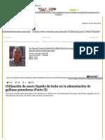 Actualidad Avipecuaria Utilización de Suero Líquido de Leche en La Alimentación de Gallinas Ponedoras (Parte II)