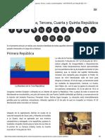 Primera, Segunda, Tercera, Cuarta y Quinta República - HISTORIA de LOS VALLES DEL TUY
