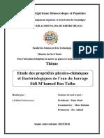 Etude des propriétés physico-chimiques et Bactériologiques de l%u2019eau du barrage Sidi M%u2019hamed Ben Taiba.pdf