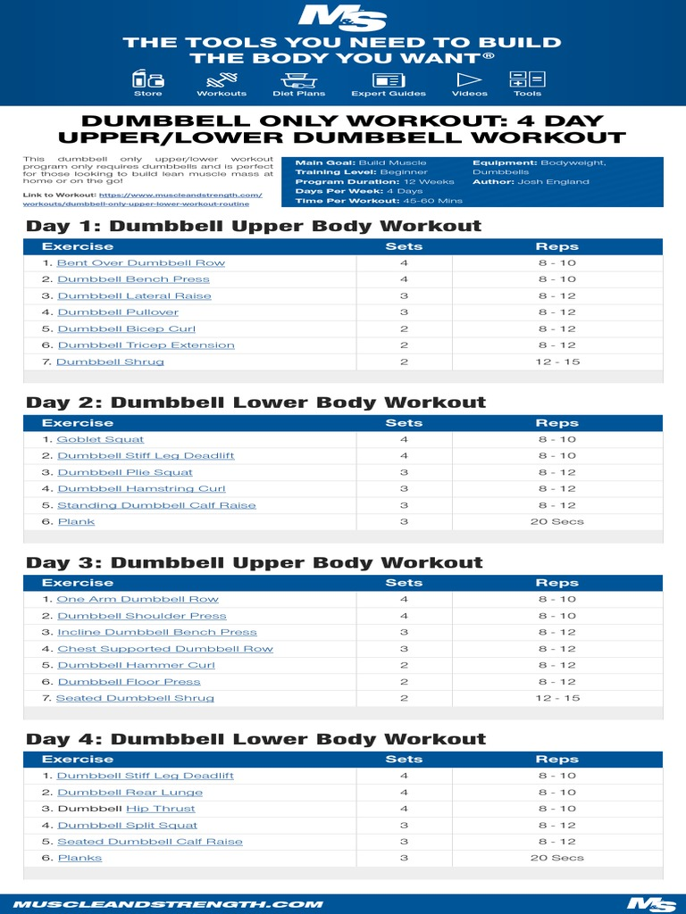 4daydumbbellonlyworkout pdf | Self Care | Management Of Obesity