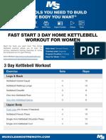 Fast Start 3 Day Home Kettle Bell Women