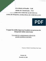 2001 UNB O Papel da Mídia Impressa Brasileira no Processo de Integração Latino Americana