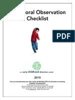 Behavioral Observation Checklist-2010