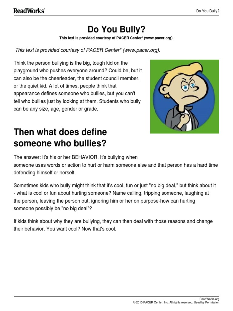 What Kids Think About Bullying And >> Readworks Do You Bully Psychology Cognitive Science