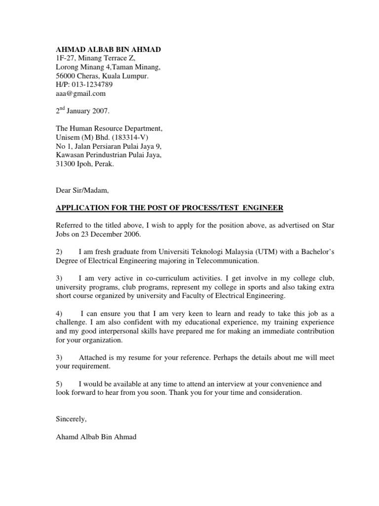 Contoh Cover Letter n ResumeTelecommunicationCommunications