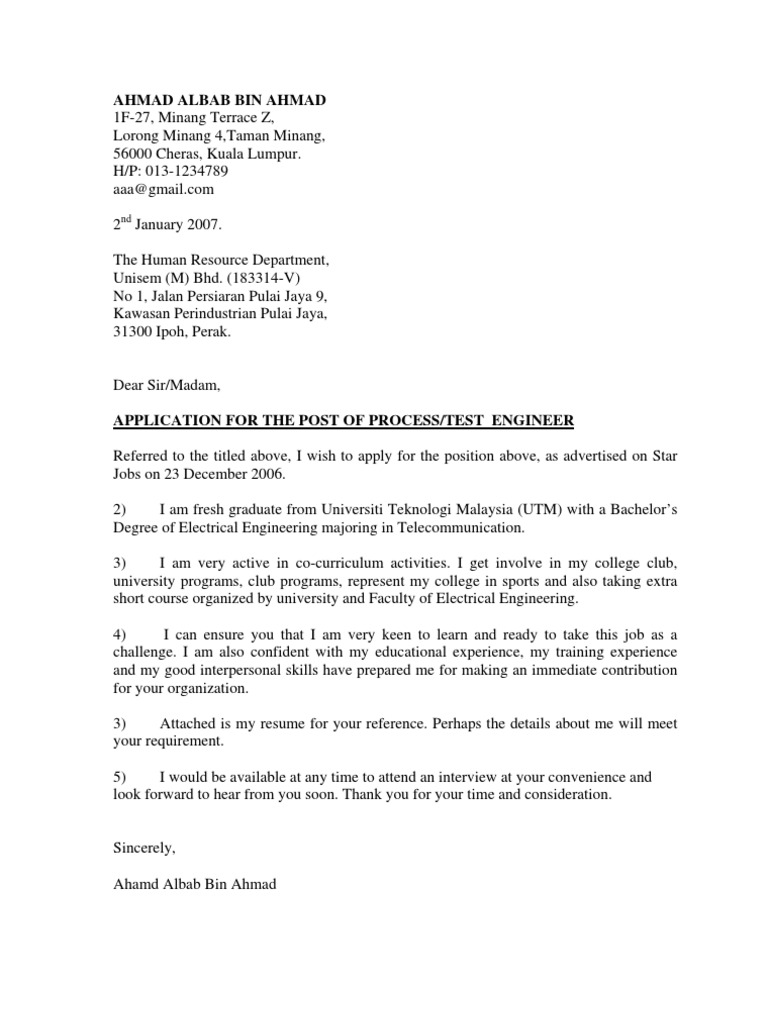 contoh cover letter n resume telecommunication communications - How To Format Cover Letter