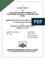 ANALYSIS OF NEW HONDA CITY CUSTOMER PROFILE & SATISFACTION LEVEL_2017.doc