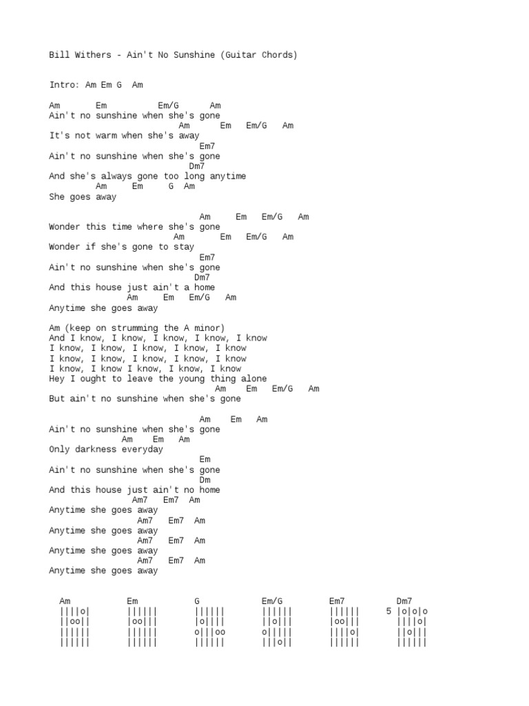 Chords Bill Withers Aint No Sunshine Here is a (hopefully) easier to read version. chords bill withers aint no sunshine