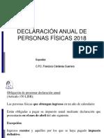 Declaracion anual personas Fisicas 2018