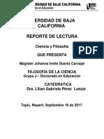 Ensayo Ciencia y Filosofia - Reporte de Lectura 1- Johanna Ivette Suarez Carvajal