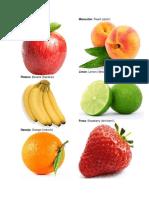 Frutas en Ingles, Español y Pronunciación